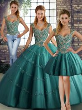 Sleeveless Tulle Floor Length Lace Up Sweet 16 Dress in Teal with Beading and Appliques