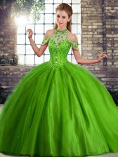 Latest Green Tulle Lace Up Vestidos de Quinceanera Sleeveless Brush Train Beading