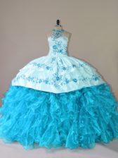 Aqua Blue Lace Up Halter Top Embroidery and Ruffles Vestidos de Quinceanera Organza Sleeveless Court Train