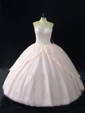 Deluxe Halter Top Sleeveless Lace Up Quince Ball Gowns Pink Tulle