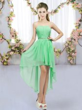 Free and Easy Green Dama Dress for Quinceanera Wedding Party with Beading Sweetheart Sleeveless Lace Up