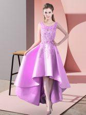 A-line Dama Dress Lilac Scoop Satin Sleeveless High Low Zipper