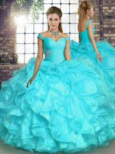 Dazzling Floor Length Ball Gowns Sleeveless Aqua Blue Vestidos de Quinceanera Lace Up