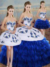Latest Floor Length Royal Blue Quinceanera Dresses Organza Sleeveless Embroidery and Ruffled Layers and Bowknot