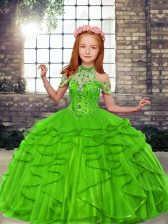 Nice Sleeveless Beading and Ruffles Lace Up Pageant Gowns For Girls