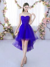 Excellent Purple Lace Up Quinceanera Court Dresses Lace Sleeveless High Low