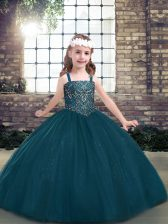 Super Long Sleeves Beading Lace Up Child Pageant Dress