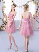 Fine Mini Length A-line Sleeveless Pink Court Dresses for Sweet 16 Lace Up