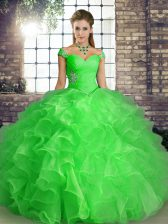 Ball Gowns Quinceanera Dress Green Off The Shoulder Organza Sleeveless Floor Length Lace Up