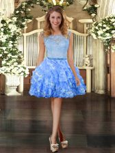 Organza Scoop Sleeveless Zipper Lace and Ruffled Layers in Blue