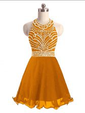 Orange Prom Evening Gown Prom and Party with Beading Halter Top Sleeveless Lace Up