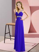 Romantic Blue Empire Beading Dress for Prom Criss Cross Chiffon Sleeveless Floor Length