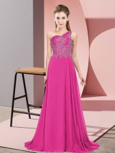 Beading Evening Dress Fuchsia Side Zipper Sleeveless Floor Length