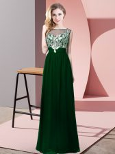 On Sale Green Empire Chiffon Scoop Sleeveless Beading Floor Length Backless Prom Party Dress