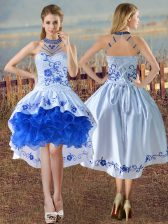 Stunning Blue And White Prom Party Dress Satin and Organza Sleeveless Embroidery and Ruffles