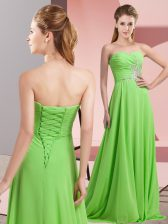 Attractive Chiffon Sweetheart Long Sleeves Lace Up Beading and Ruching Evening Dress in