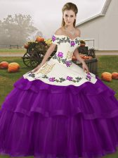 Nice Purple Ball Gowns Tulle Off The Shoulder Sleeveless Embroidery and Ruffled Layers Lace Up Quinceanera Gown Brush Train