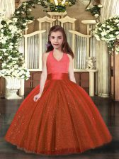 Classical Floor Length Rust Red Kids Pageant Dress Halter Top Sleeveless Lace Up