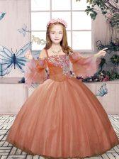 Dazzling Rust Red Straps Neckline Beading Little Girls Pageant Gowns Sleeveless Lace Up