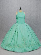 Apple Green Satin Zipper Sweet 16 Quinceanera Dress Sleeveless Floor Length Embroidery