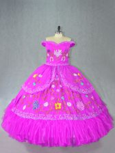 Graceful Fuchsia Quinceanera Dresses Sweet 16 and Quinceanera with Embroidery Off The Shoulder Sleeveless Lace Up
