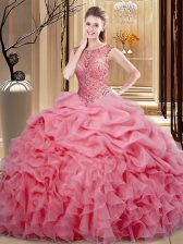 Scoop Sleeveless Lace Up 15th Birthday Dress Pink Organza