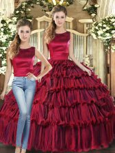 Spectacular Organza Scoop Sleeveless Lace Up Ruffled Layers Quinceanera Dresses in Wine Red