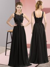 Black Chiffon Zipper Scoop Sleeveless Floor Length Quinceanera Court of Honor Dress Beading and Appliques