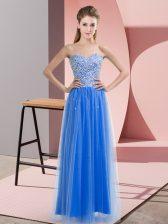 Elegant Sleeveless Lace Up Floor Length Beading Prom Evening Gown