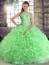 Green Ball Gowns Beading 15 Quinceanera Dress Lace Up Fabric With Rolling Flowers Sleeveless Floor Length