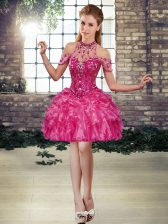 Fuchsia Prom Dresses Prom and Party with Beading and Ruffles Halter Top Sleeveless Lace Up