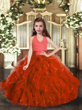 Rust Red Sleeveless Ruffles Floor Length Pageant Dress for Girls