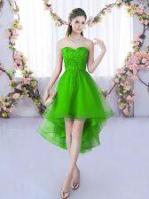 High Low A-line Sleeveless Green Damas Dress Lace Up