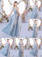 Sweet Grey Empire Chiffon Off The Shoulder Sleeveless Belt Floor Length Lace Up Quinceanera Court Dresses