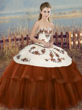 Brown Sweetheart Neckline Embroidery and Bowknot Quinceanera Dresses Sleeveless Lace Up