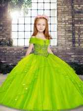 Cute Straps Sleeveless Pageant Gowns For Girls Floor Length Beading Tulle