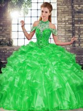 Discount Green Lace Up Halter Top Beading and Ruffles 15 Quinceanera Dress Organza Sleeveless