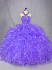 Purple Scoop Neckline Beading 15th Birthday Dress Sleeveless Zipper