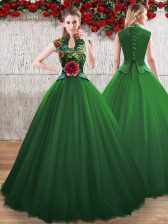Luxurious V-neck Sleeveless Tulle Quinceanera Gowns Hand Made Flower Lace Up