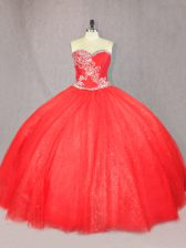 Comfortable Floor Length Lace Up Quince Ball Gowns Red for Sweet 16 and Quinceanera with Beading