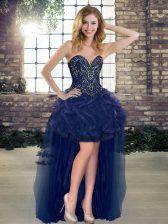 Fine Navy Blue Sleeveless Beading and Ruffles High Low Prom Gown