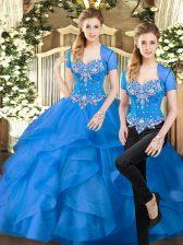 Spectacular Blue Lace Up 15th Birthday Dress Beading and Ruffles Sleeveless Floor Length