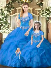 High Quality Blue Sweetheart Neckline Beading and Ruffles Quinceanera Dresses Sleeveless Lace Up