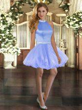 Halter Top Sleeveless Prom Gown Mini Length Beading Blue Tulle