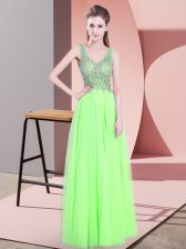 Yellow Green Empire Tulle V-neck Sleeveless Beading Floor Length Zipper Prom Evening Gown