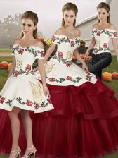 Glamorous Wine Red Tulle Lace Up Quinceanera Dresses Sleeveless Brush Train Embroidery and Ruffled Layers