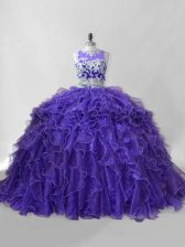 Purple Organza Zipper Scoop Sleeveless Quince Ball Gowns Brush Train Beading and Ruffles