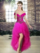 Fuchsia A-line Beading and Ruffles Evening Dress Lace Up Tulle Sleeveless High Low