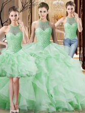 Excellent Apple Green Lace Up Halter Top Beading and Ruffles Quinceanera Dresses Organza Sleeveless Brush Train