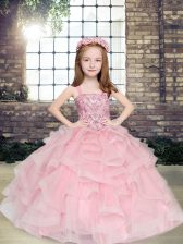 Sleeveless Tulle Floor Length Lace Up Child Pageant Dress in Pink with Beading and Ruffles